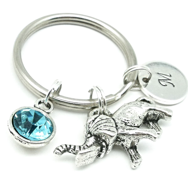 3D Elephant gift keyring personalised initial birthstone